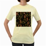 Floral Pattern Background Women s Yellow T-Shirt Front