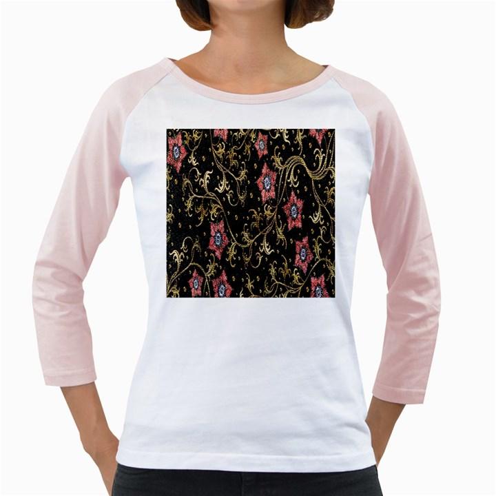 Floral Pattern Background Girly Raglans