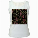 Floral Pattern Background Women s White Tank Top Front