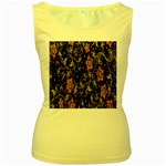 Floral Pattern Background Women s Yellow Tank Top Front