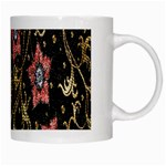 Floral Pattern Background White Mugs Right