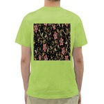 Floral Pattern Background Green T-Shirt Back