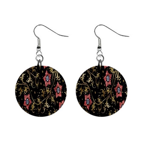 Floral Pattern Background Mini Button Earrings