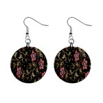 Floral Pattern Background Mini Button Earrings Front