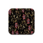 Floral Pattern Background Rubber Coaster (Square)  Front