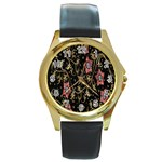 Floral Pattern Background Round Gold Metal Watch Front