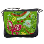 Green Organic Abstract Messenger Bags Front