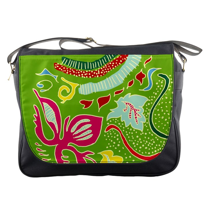 Green Organic Abstract Messenger Bags