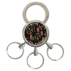 Floral Pattern Background 3-Ring Key Chains
