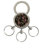Floral Pattern Background 3-Ring Key Chains Front