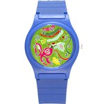 Green Organic Abstract Round Plastic Sport Watch (S) Front
