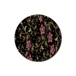 Floral Pattern Background Rubber Round Coaster (4 pack)  Front