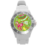 Green Organic Abstract Round Plastic Sport Watch (L) Front