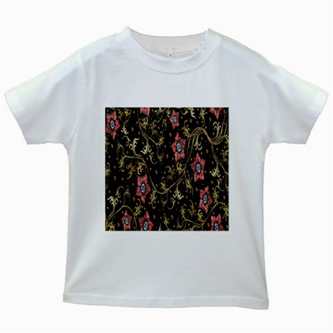 Floral Pattern Background Kids White T-Shirts