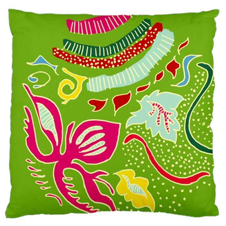 Green Organic Abstract Large Cushion Case (One Side)