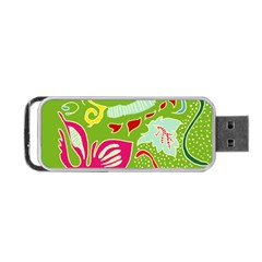 Green Organic Abstract Portable Usb Flash (one Side)