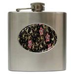 Floral Pattern Background Hip Flask (6 oz) Front