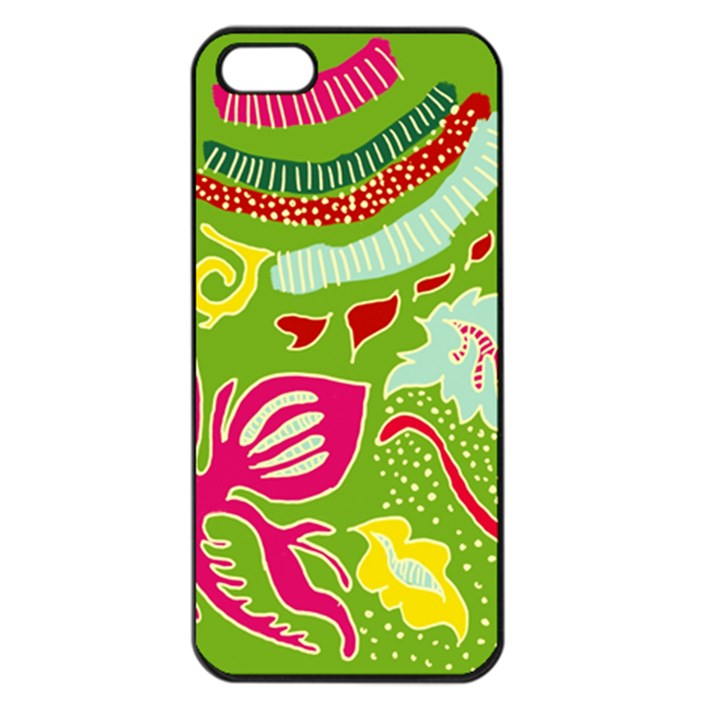 Green Organic Abstract Apple iPhone 5 Seamless Case (Black)