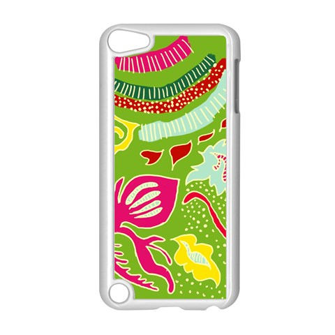 Green Organic Abstract Apple iPod Touch 5 Case (White)