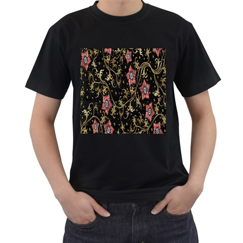 Floral Pattern Background Men s T-Shirt (Black) (Two Sided)