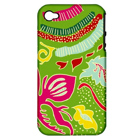 Green Organic Abstract Apple iPhone 4/4S Hardshell Case (PC+Silicone)