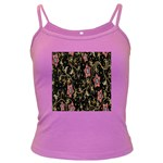 Floral Pattern Background Dark Spaghetti Tank Front
