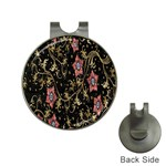 Floral Pattern Background Hat Clips with Golf Markers Front