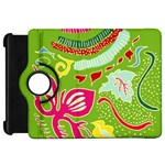 Green Organic Abstract Kindle Fire HD Flip 360 Case Front