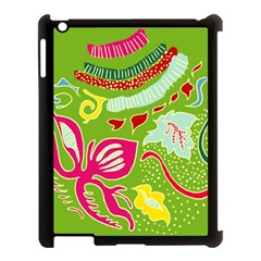 Green Organic Abstract Apple iPad 3/4 Case (Black)