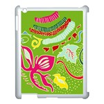 Green Organic Abstract Apple iPad 3/4 Case (White) Front