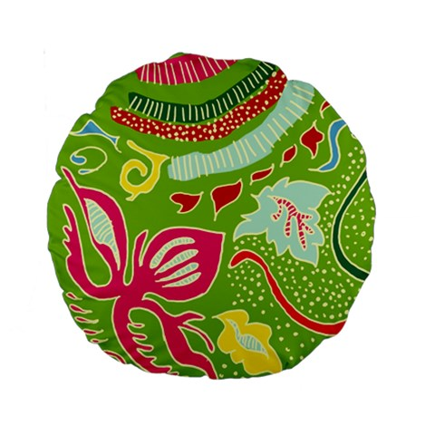 Green Organic Abstract Standard 15  Premium Round Cushions