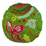 Green Organic Abstract Large 18  Premium Round Cushions Back