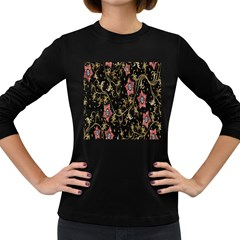 Floral Pattern Background Women s Long Sleeve Dark T-Shirts