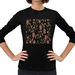 Floral Pattern Background Women s Long Sleeve Dark T-Shirts Front