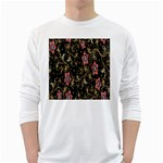 Floral Pattern Background White Long Sleeve T-Shirts Front