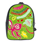 Green Organic Abstract School Bags (XL)  Front