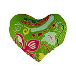 Green Organic Abstract Standard 16  Premium Heart Shape Cushions Front