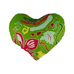 Green Organic Abstract Standard 16  Premium Heart Shape Cushions Back