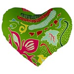 Green Organic Abstract Large 19  Premium Heart Shape Cushions Front