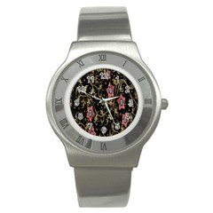 Floral Pattern Background Stainless Steel Watch