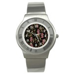 Floral Pattern Background Stainless Steel Watch Front