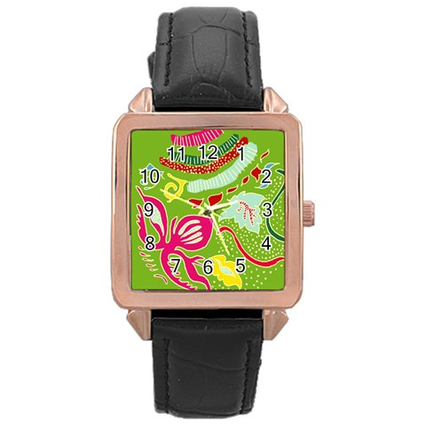 Green Organic Abstract Rose Gold Leather Watch