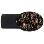 Floral Pattern Background USB Flash Drive Oval (4 GB)  Front
