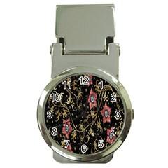 Floral Pattern Background Money Clip Watches