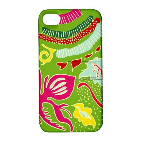 Green Organic Abstract Apple iPhone 4/4S Hardshell Case with Stand
