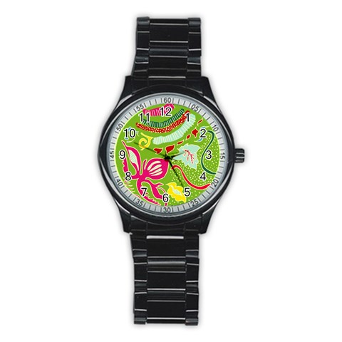 Green Organic Abstract Stainless Steel Round Watch