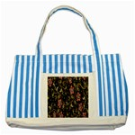 Floral Pattern Background Striped Blue Tote Bag Front