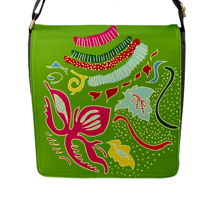 Green Organic Abstract Flap Messenger Bag (L)