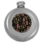 Floral Pattern Background Round Hip Flask (5 oz) Front