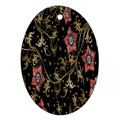 Floral Pattern Background Oval Ornament (Two Sides)